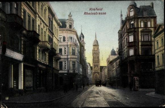 Ak Krefeld am Niederrhein, Rheinstraße, Dionysiuskirche, Geschäfte 0