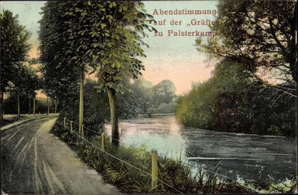 Ak Palsterkamp Bad Rothenfelde am Teutoburger Wald, Abendstimmung auf der Gräfte 0