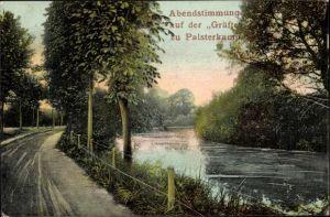 Ak Palsterkamp Bad Rothenfelde am Teutoburger Wald, Abendstimmung auf der Gräfte
