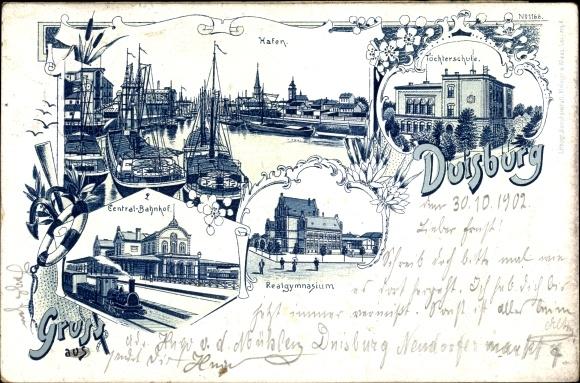 Litho Duisburg im Ruhrgebiet, Hafen, Zentralbahnhof, Realgymnasium, Töchterschule 0