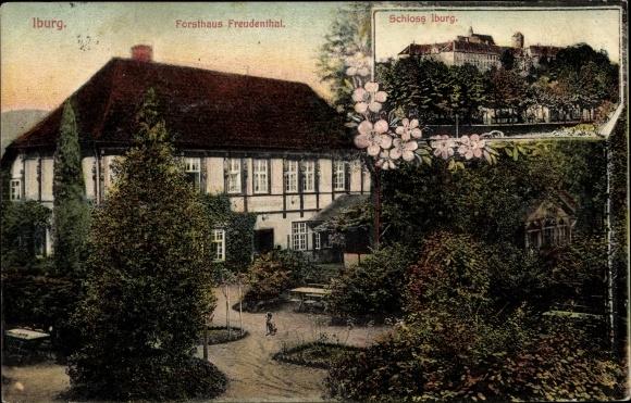 Ak Bad Iburg in Niedersachsen, Forsthaus Freudenthal, Schloss 0