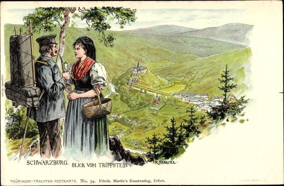 Litho Schwarzburg in Thüringen, Wanderer und Frau in Tracht, Blick vom Trippstein 0