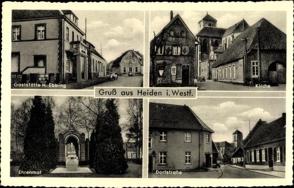 Ak Heiden in Nordrhein Westfalen, Gaststätte H. Ebbing, Kirche, Ehrenmal, Dorfstraße 0