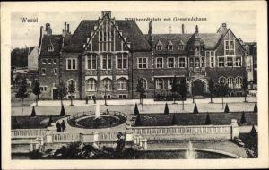 Ak Wesel am Niederrhein, Blick über den Willibrordiplatz zum Gemeindehaus