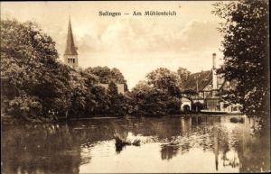 Ak Sulingen in Niedersachsen, Partie am Mühlenteich mit Blick zur Kirche