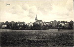 Ak Lesum Bremen, Blick über eine Wiese und Bäume zur Ortschaft