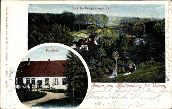 Ak Heiligenberg Bruchhausen Vilsen Niedersachsen, Blick ins Tal, Ansicht vom Fortshaus 0