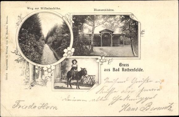 Passepartout Ak Bad Rothenfelde am Teutoburger Wald,Bismarckhütte, Wihelmshöhe, Kind und Esel 0