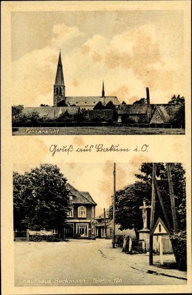 Ak Bakum in Niedersachsen, Fernansicht mit Blick zur Kirche, Kaufhaus Beckmann 0