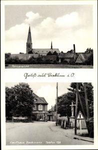 Ak Bakum in Niedersachsen, Fernansicht mit Blick zur Kirche, Kaufhaus Beckmann