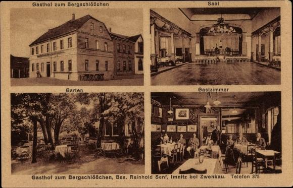 Ak Imnitz Zwenkau in Sachsen, Gasthof zum Bergschlösschen, Inh. Reinhold Senf, Saal, Garten, Gäste 0