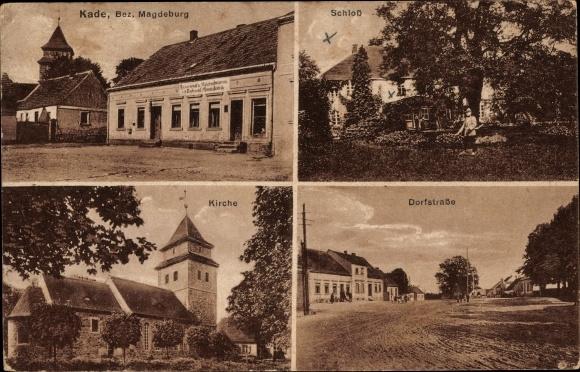 Ak Kade Jerichow Sachsen Anhalt, Restaurant und Geschäft von Ferdinand Pflaumbaum, Schloss, Kirche 0