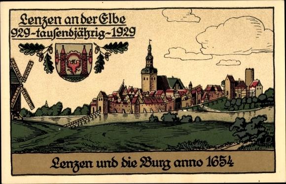 Steindruck Ak Lenzen an der Elbe im Kreis Prignitz, Ort mit Burg anno 1654 0