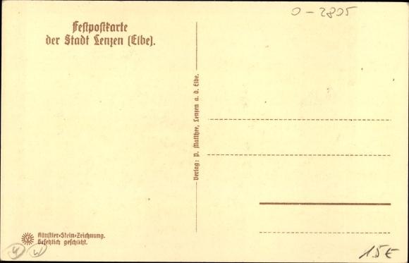 Steindruck Ak Lenzen an der Elbe im Kreis Prignitz, Ort mit Burg anno 1654 1
