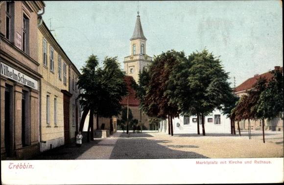 Ak Trebbin im Kreis Teltow Fläming, Marktplatz, Kirche, Rathaus 0