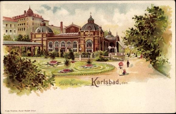 Litho Karlovy Vary Karlsbad Stadt, Stadtpark, Promenade, Grünanlagen 0