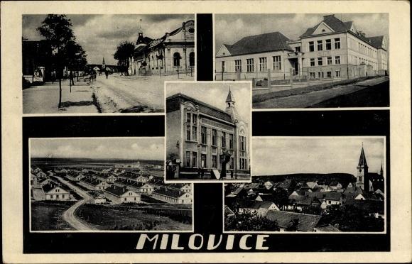 Ak Milovice nad Labem Milowitz Mittelböhmen, Straßenpartie, Gebäude, Panorama, Siedlung 0