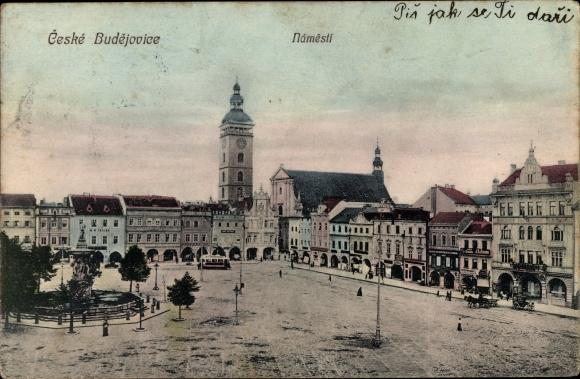 Ak Budweis České Budějovice Südböhmen Tschechien, Namesti, Platz, Geschäftshäuser, Brunnen, Turm 0