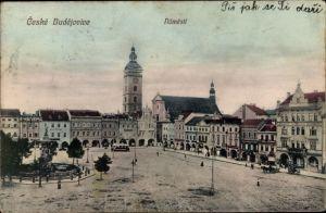 Ak Budweis České Budějovice Südböhmen Tschechien, Namesti, Platz, Geschäftshäuser, Brunnen, Turm