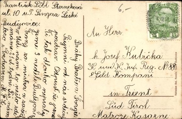 Ak Budweis České Budějovice Südböhmen Tschechien, Namesti, Platz, Geschäftshäuser, Brunnen, Turm 1