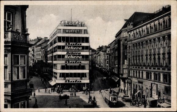Ak Brno Brünn Südmähren, Geschäftshaus Bata, Buffet, Nehera, Straßenbahn, Passanten