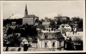 Ak Chrastava Kratzau Reg. Reichenberg, Kirche und Wohnhäuser, Teilansicht der Stadt