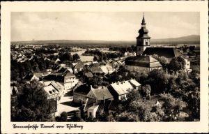 Ak Mimoň Niemes Region Reichenberg, Panorama vom Schulberg, Kirche, Wohnhäuser