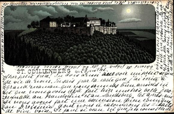 Mondschein Litho Obernai Oberehnheim Elsass Bas Rhin, St. Odilienberg, Kloster 0