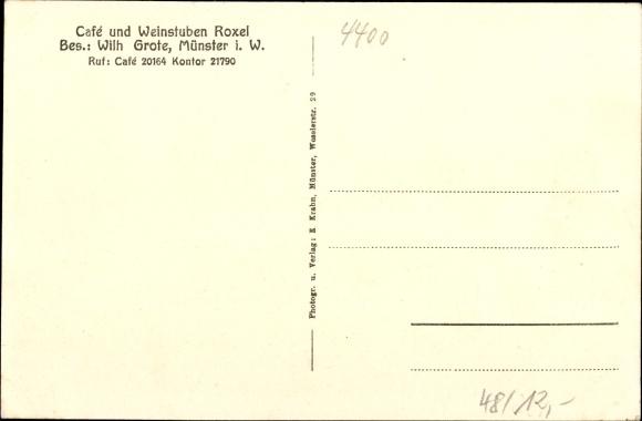 Ak Münster in Westfalen, Innenansicht vom Cafe Roxel, Inh. Wilhelm Grote 1