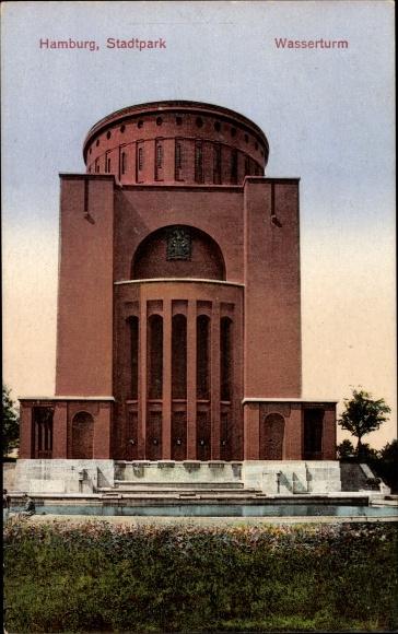 Ak Hamburg Nord Winterhude, Blick auf den Wasserturm im Stadtpark 0