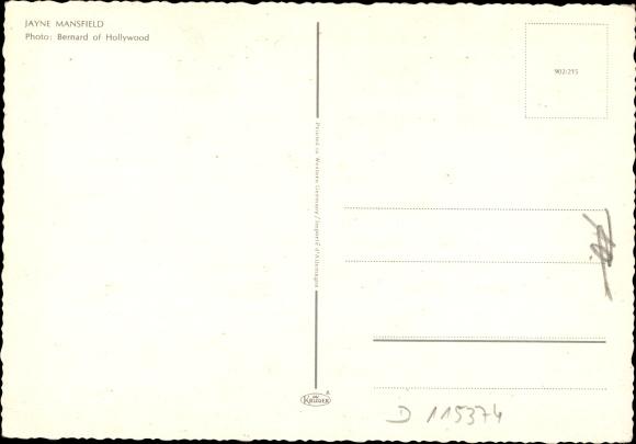 Ak Schauspielerin und Sexsymbol Jayne Mansfield, Portrait, Dekolleté 1