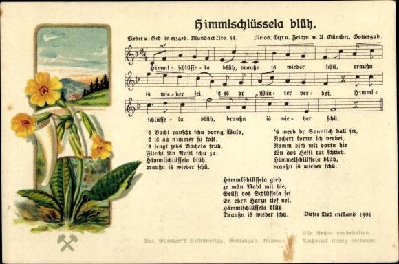 Lied Ak Günther, Anton, Himmlschlüssela blüh, Erzgeb. Mundart No. 44 0