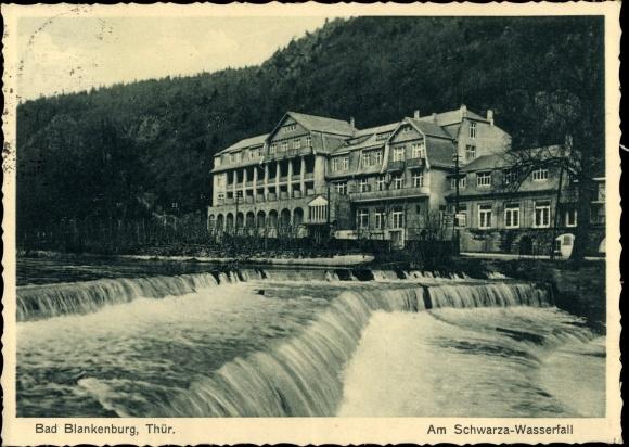Ak Bad Blankenburg im Kreis Saalfeld Rudolstadt, Partie am Schwarza Wasserfall, Gasthaus 0