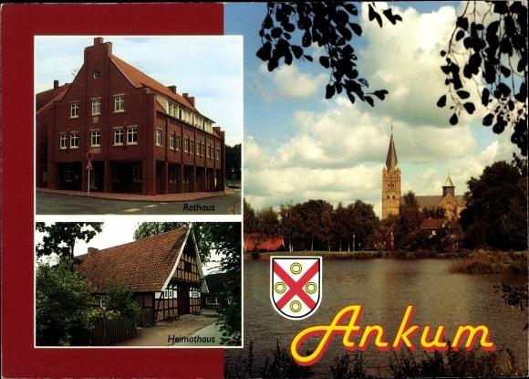 Wappen Ak Ankum in Niedersachsen, Rathaus, Heimathaus, Blick übers Wasser zur Kirche 0