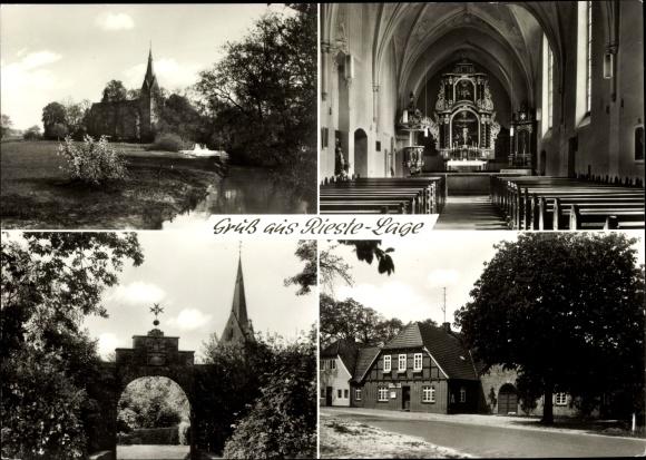 Ak Rieste Lage Niedersachsen, Innenansicht der Kirche, Altar, Straßenpartie, Gaststätte Kramer 0