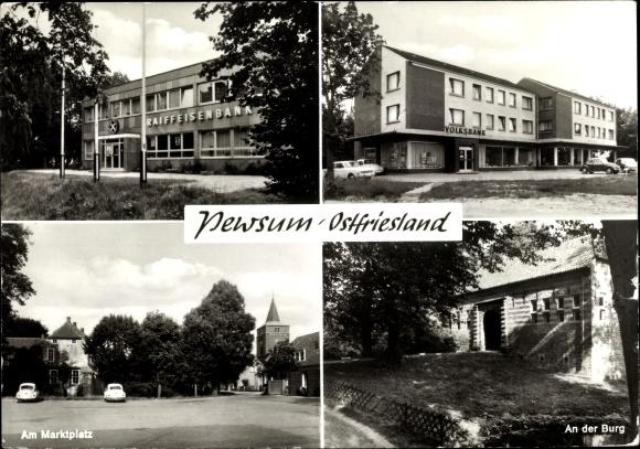 Ak Pewsum Krummhörn Niedersachsen, Marktplatz, an der Burg, Volksbank, Raiffeisenbank 0