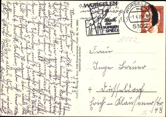 Ak Broichweiden Würselen Nordrhein Westfalen, Hochhaus, Kirche, Straßenpartie, Denkmal 1