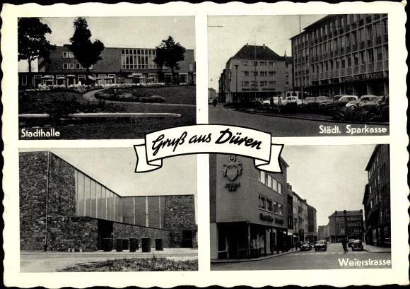Ak Düren in Nordrhein Westfalen, Sparkasse, Weierstraße, Stadthalle, Autos 0
