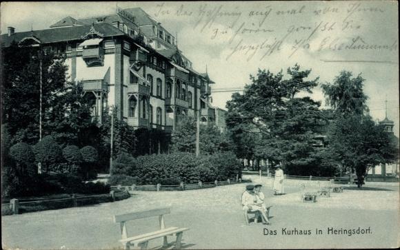 Ak Ostseebad Heringsdorf auf Usedom, Partie am Kurhaus 0