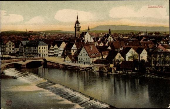 Ak Cannstatt Stuttgart in Baden Württemberg, Blick auf die Stadt mit Wehr 0