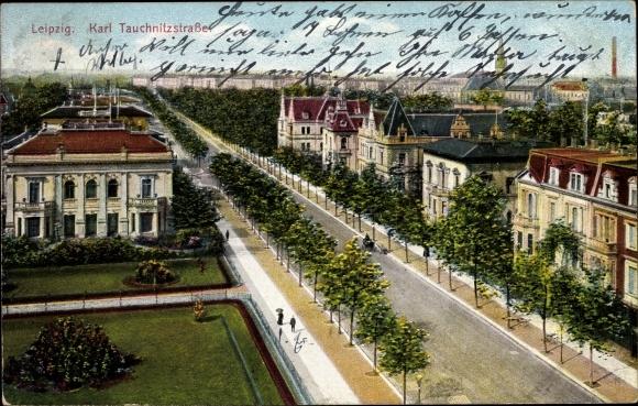Ak Leipzig in Sachsen, Blick auf die Karl Tauchnitzstraße aus der Vogelschau 0
