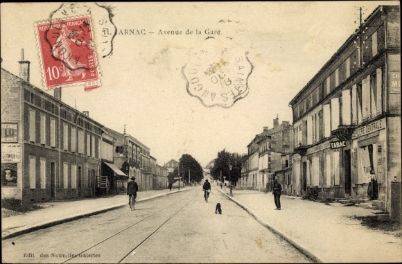 Ak Jarnac Charente, Avenue de la Gare, Bahnhofstraße 0