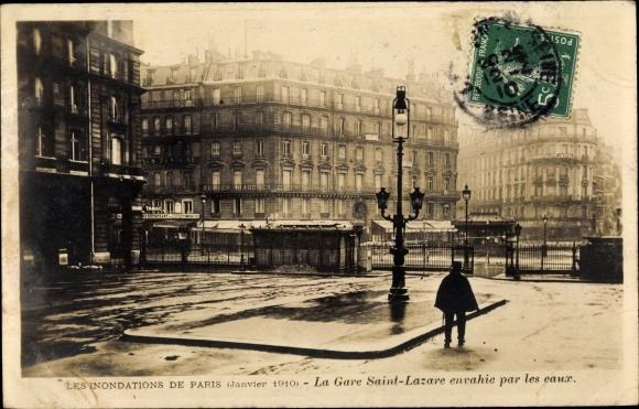 Ak Paris, Inondations Janvier 1910, Gare Saint Lazare envahie par les eaux 0