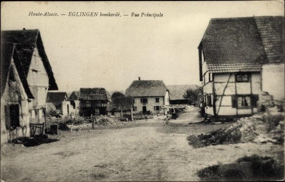 Ak Eglingen Elsass Haut Rhin, Rue Principale, Straßenpartie 0