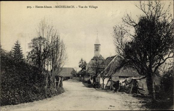 Ak Michelbach Elsass Haut Rhin, Vue du Village, Straßenpartie, Kirche 0