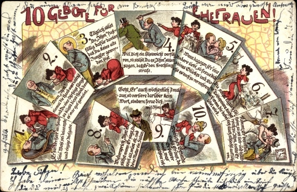 Litho 10 Gebote für Ehefrauen, Er sei der Herr im Hause, Ehehumor