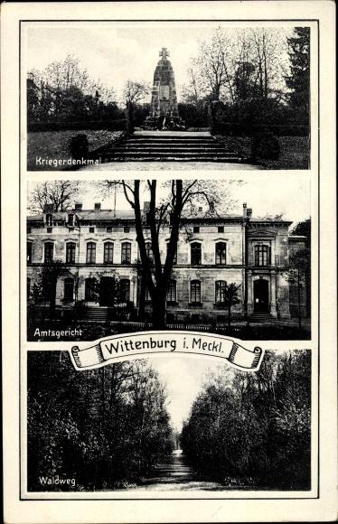 Ak Wittenburg in Mecklenburg Vorpommern, Kriegerdenkmal, Amtsgericht, Waldweg
