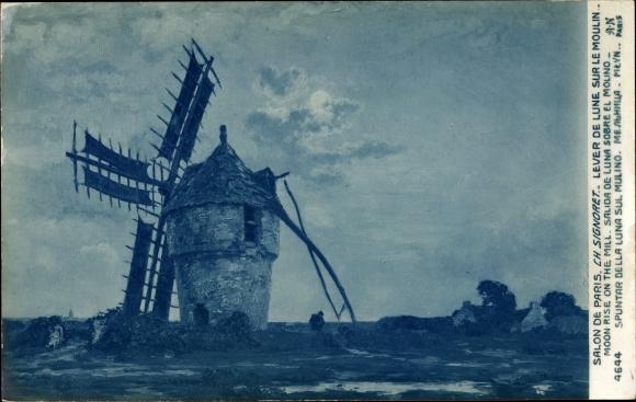 Künstler Ak Signoret, Ch., Lever de Lune sur le Moulin, Mondaufgang über einer Windmühle