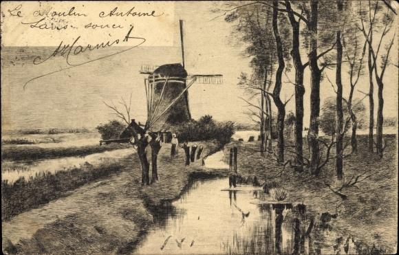 Künstler Ak Landschaftsansicht mit Windmühle, Flusspartie, Moulin Antoine