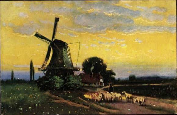 Künstler Ak Schafherde vor einer Windmühle, Wolken